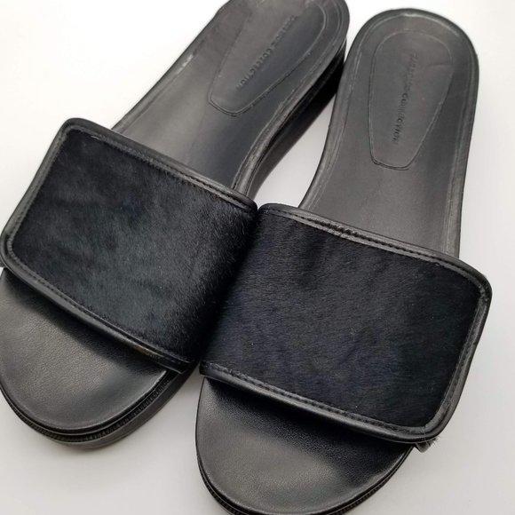 Zara Basic Collection Black Leather Platform Slide